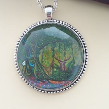 Stag Tree of Life art charm pendant or keyring