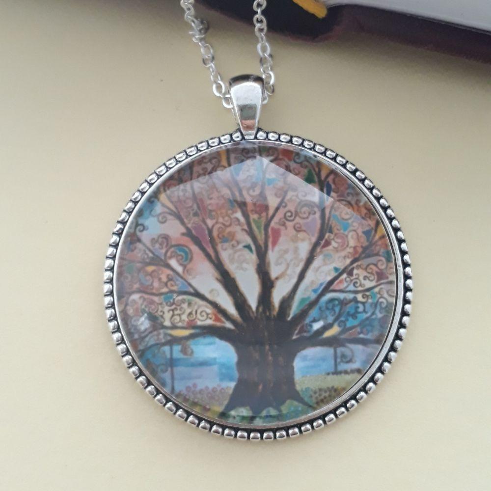 Prayer flag Tree of Life art charm pendant or keyring