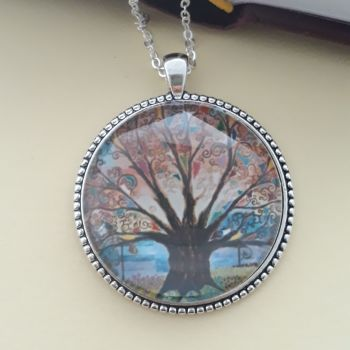 Prayer flag Tree of Life art charm pendant or keyring