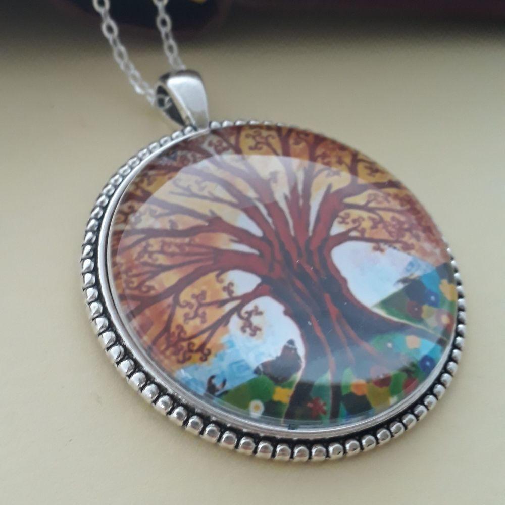 Insects Tree of Life art charm pendant or keyring