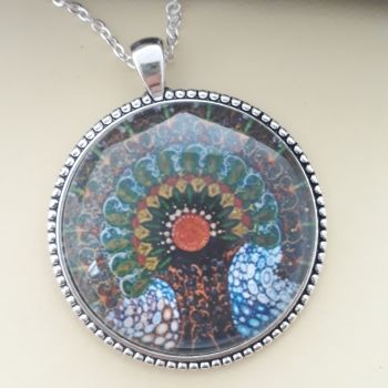 Peacock Mandala Tree of Life art charm pendant or keyring