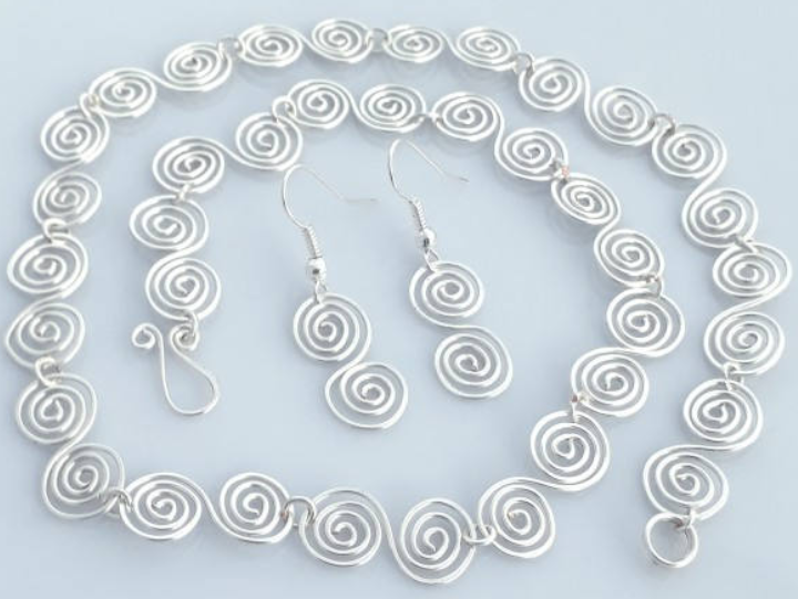 Celtic silver spiral necklace and earring set