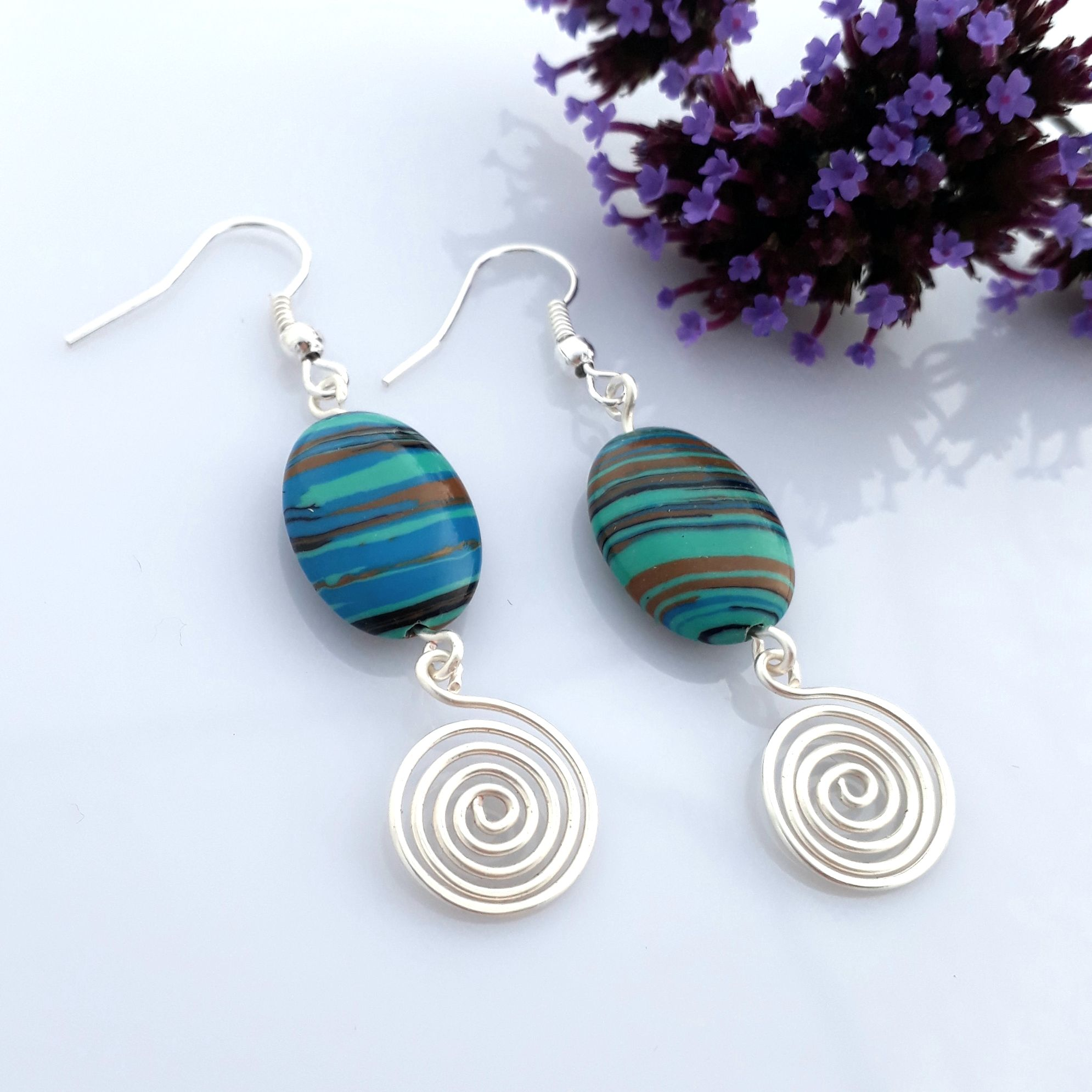 Blue Malachite and silver spiral earrings