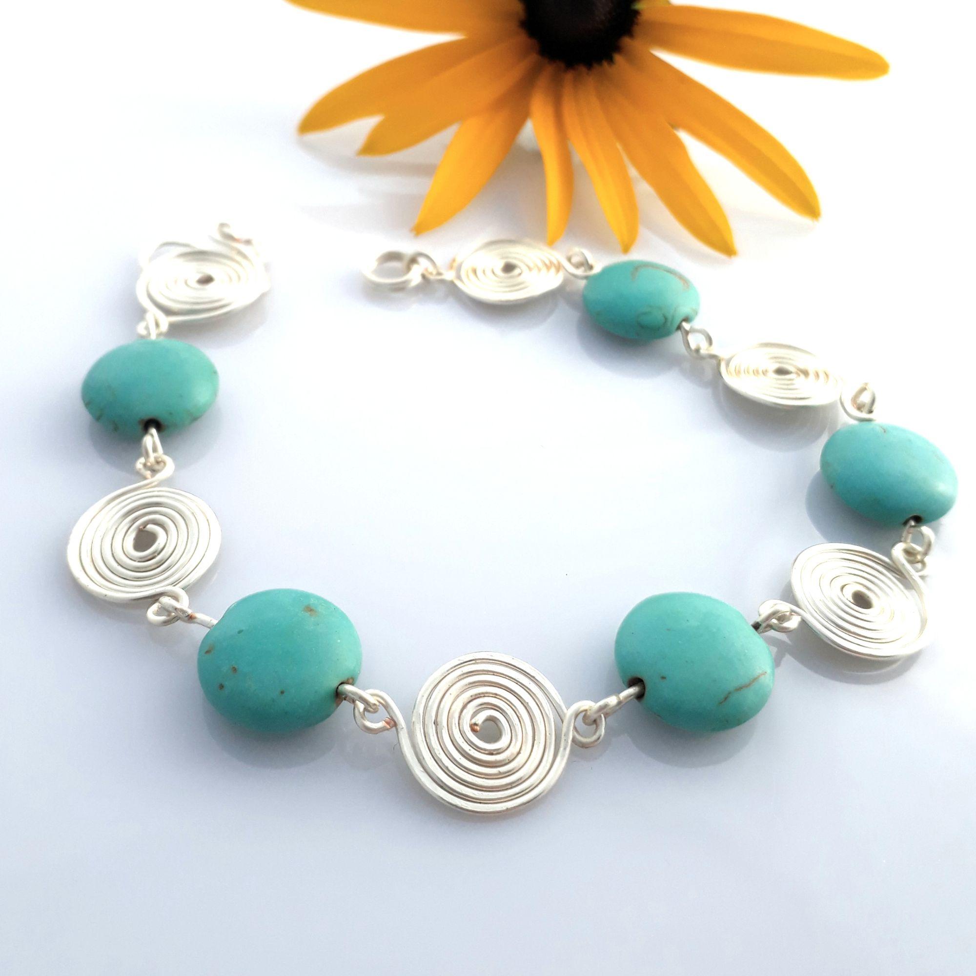 Turquoise silver spiral bracelet