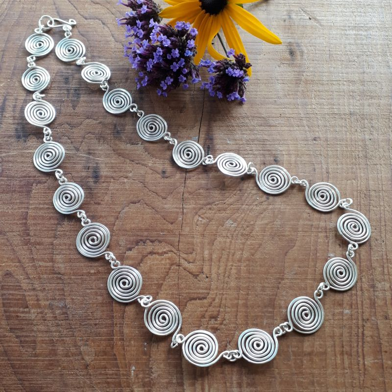3 Open Silver Spiral Necklace