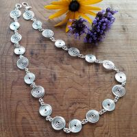 4 Silver open and closed Spiral Necklace
