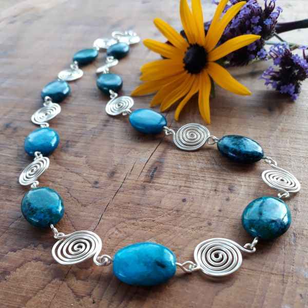 5 Azurite Chryscolla and Spiral necklace