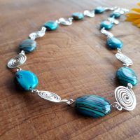 6 Blue Malachite and silver open spirals necklace