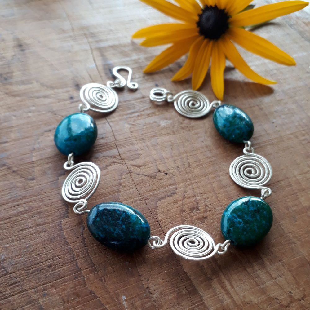 Azurite Chysocolla and silver spirals bracelet