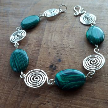 Green stripped Malachite and silver open spirals bracelet