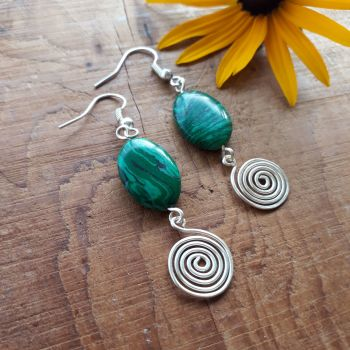 Malachite ovals and silver spiral earrings