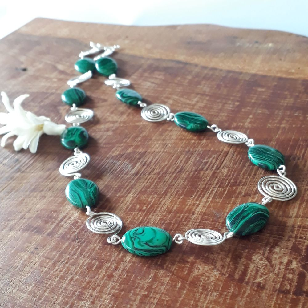 7 Malachite ovals with silver wire spirals necklace