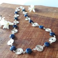 8 Lapis Lazuli and silver spirals necklace