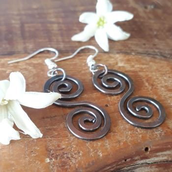 Celtic copper spiral earrings