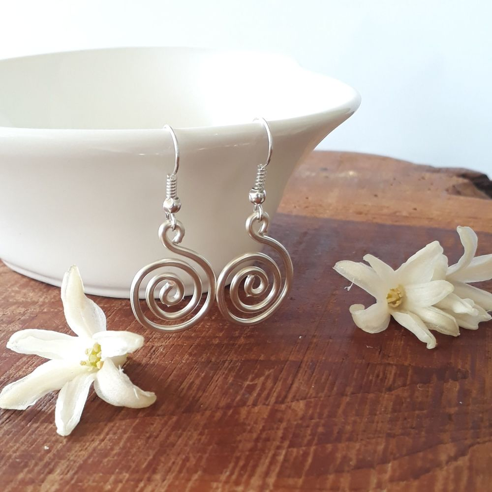 Chunky silver spiral earrings