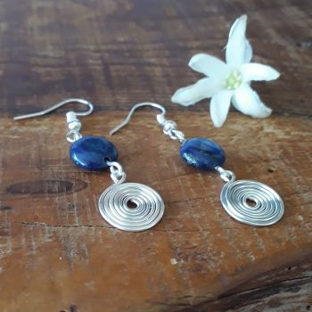 Lapis Lazuli and silver open spirals earrings