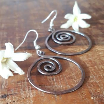 Large hoop spiral earrings