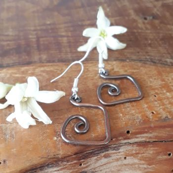 Square spiral copper earrings