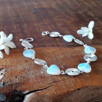 Moonstone hearts and silver spirals bracelet