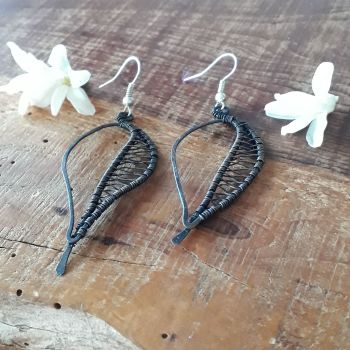 Wire wrapped leaf copper earrings