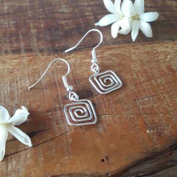 Greek key square spiral earrings