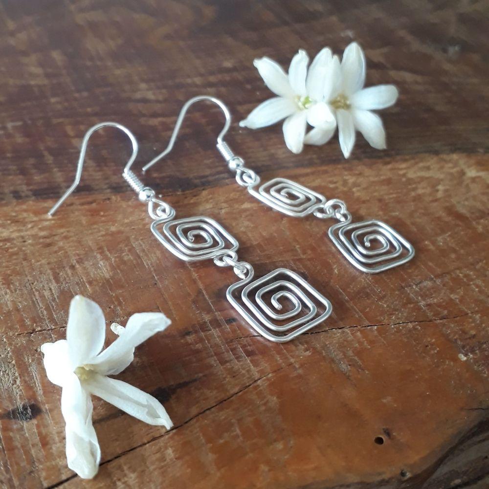 Double Greek key square spiral earrings