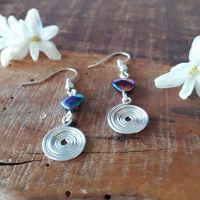 Rainbow Hematite and silver spiral earrings