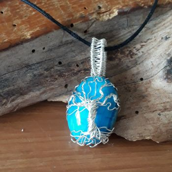 Silver wire wrapped Agate Cabochon Tree of Life Pendant