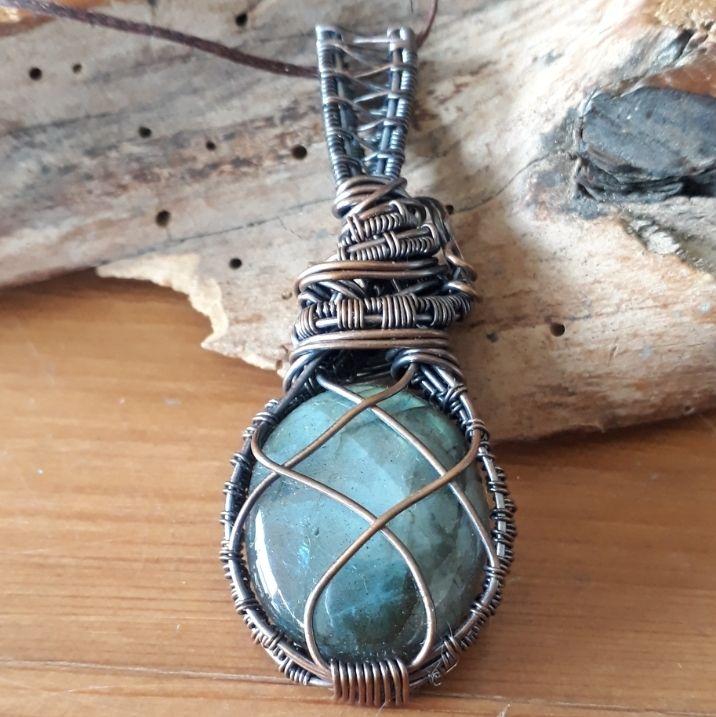 Medieval Copper wire wrapped Labradorite Pendant