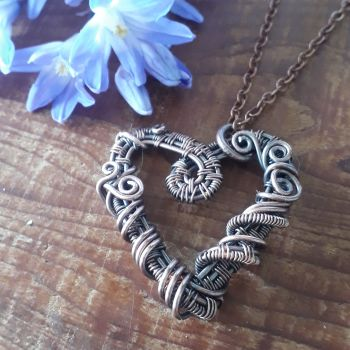 Copper wire wrapped heart pendant
