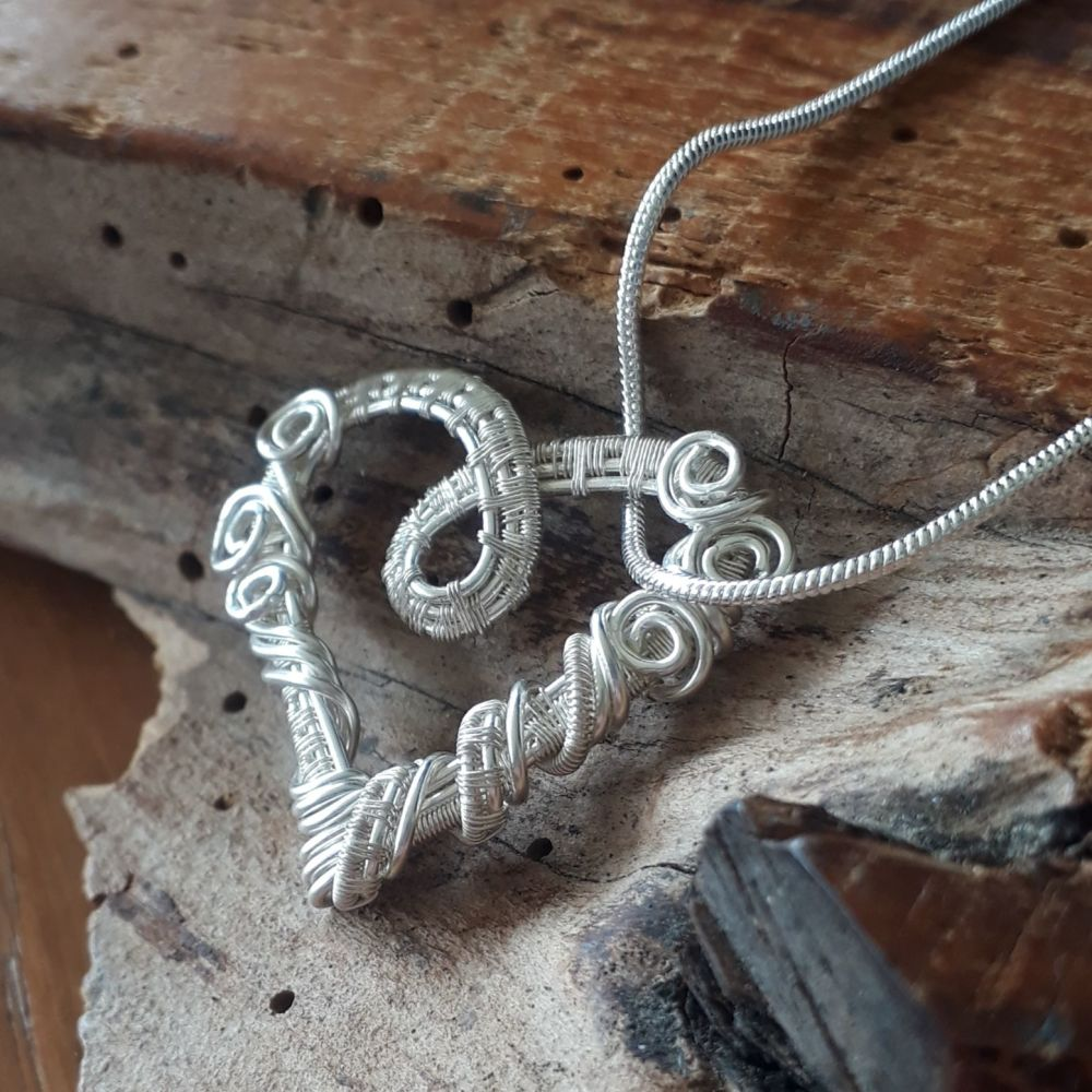 Fine Silver wire wrapped heart pendant