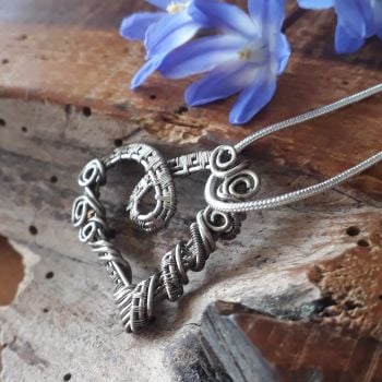 Fine oxidised Silver wire wrapped heart pendant