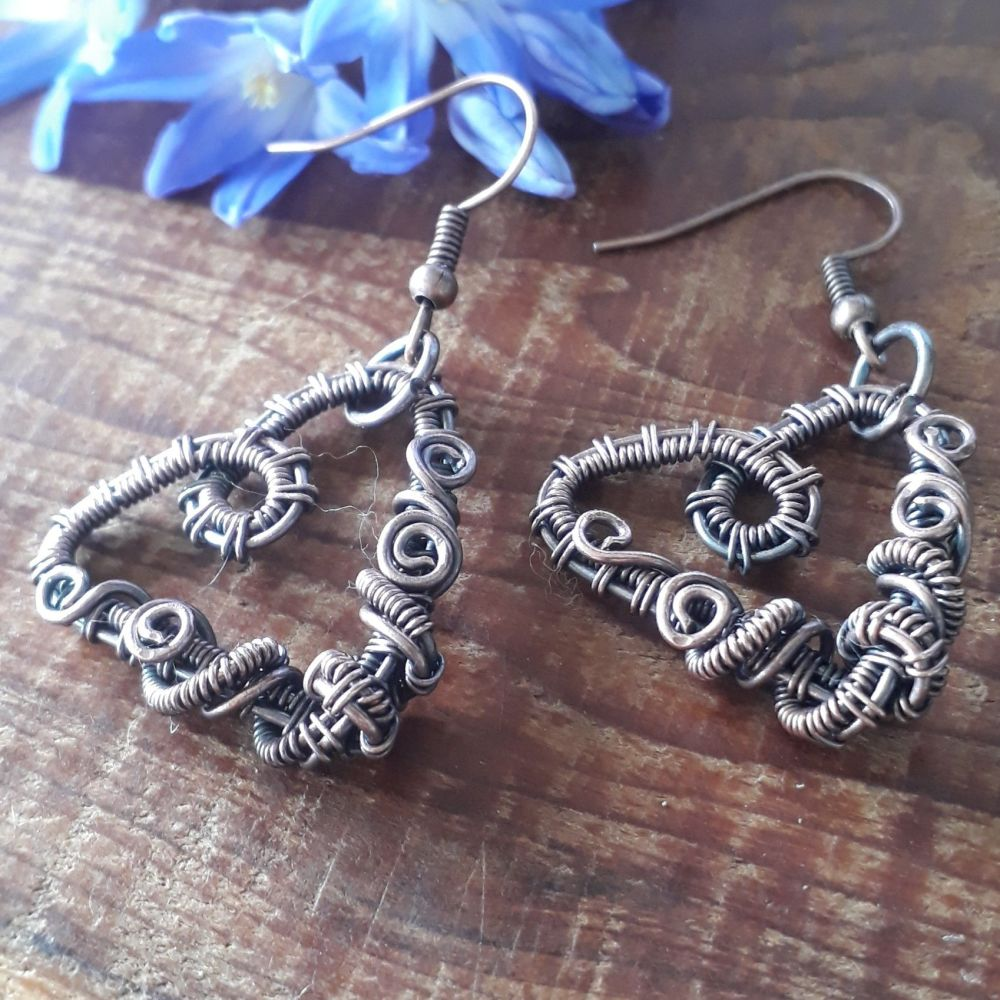 Copper wire wrapped heart earrings