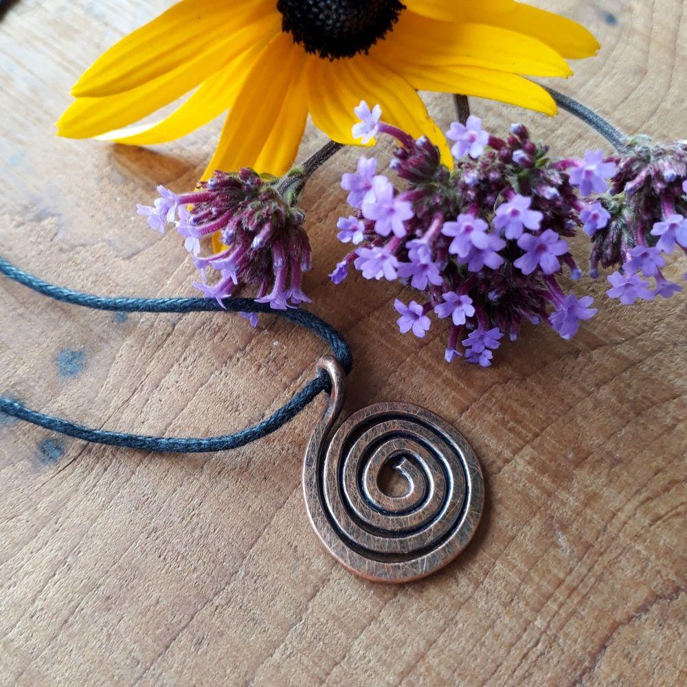 Celtic copper spiral pendant necklace