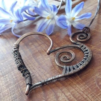 Large Copper wire wrapped heart Pendant