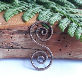 Celtic copper spiral pendant necklace