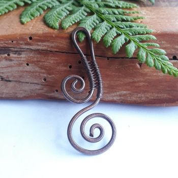 Copper Scroll Spiral Pendant