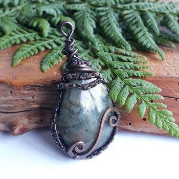 Copper wire wrapped Labradorite Pendant