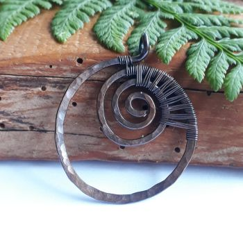 Copper wire wrapped Spiral Ammonite fossil Circle Pendant