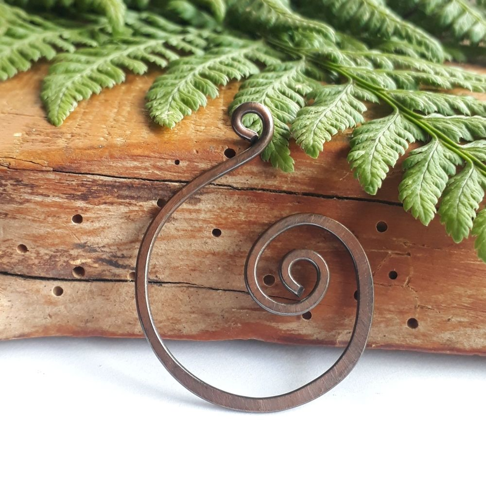 Large spiral copper pendant necklace
