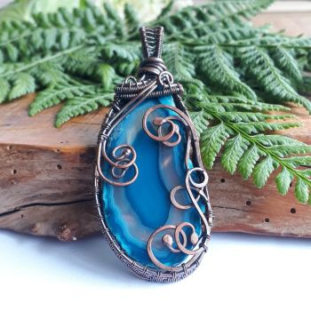 Copper wire wrapped Agate Slice pendant