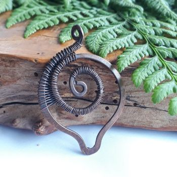 Copper wire wrapped Spiral Ammonite fossil Pendant