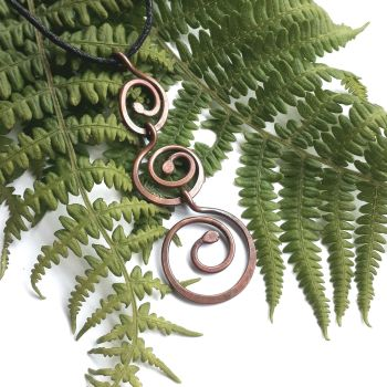 Large Triple spiral copper pendant