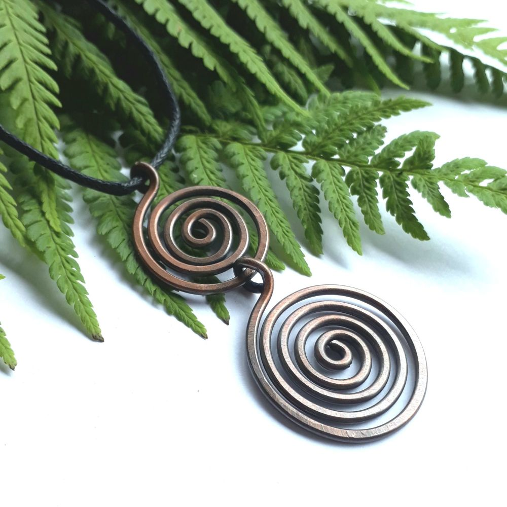 Large Double spiral copper pendant