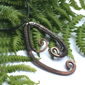 Copper fern wire wrapped pendant