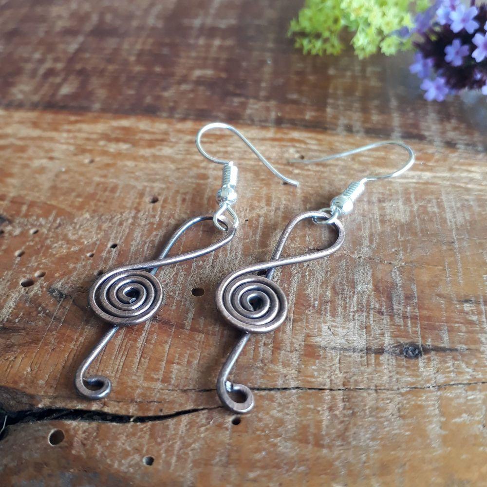 Copper Music Clef earrings