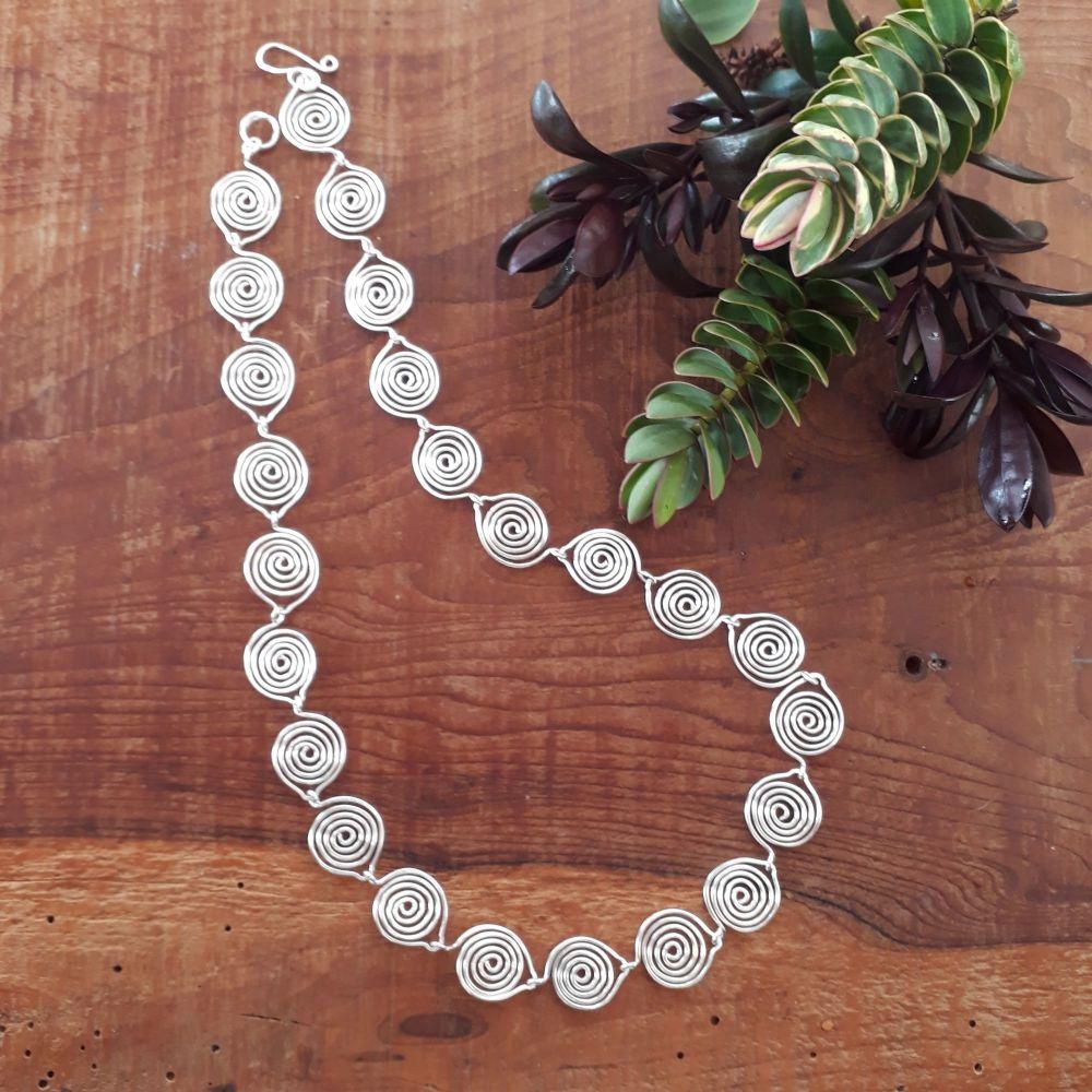 Leaf Silver Spiral necklace