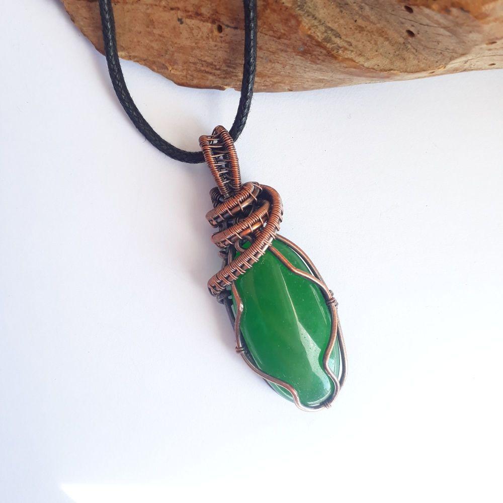Oval Green Aventurine Copper Pendant