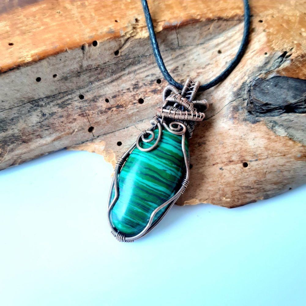 Malachite and Copper Wire Wrapped Pendant