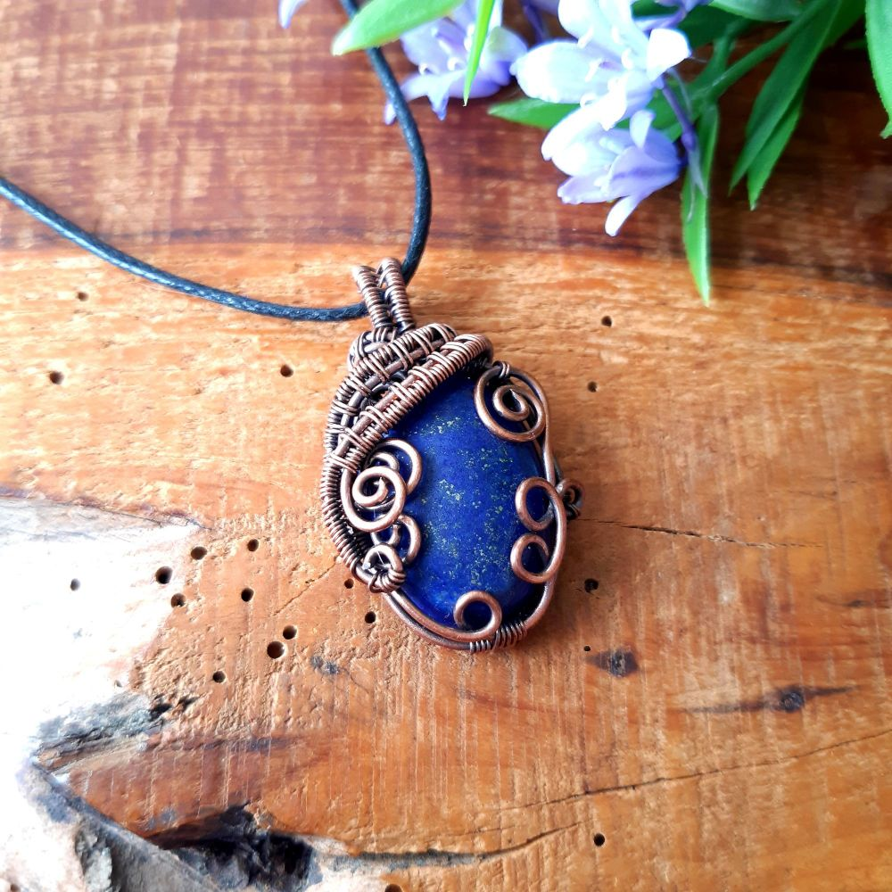 Lapis Lazuli and Copper Wire Wrapped Pendant